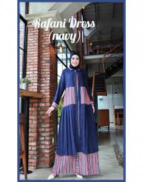 Dress Muslimah Modis dan Kekinian Rafani Dress warna Navy Bahan Cotton Linen motif salur