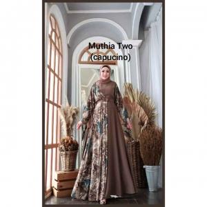 Gamis Kombinasi Terbaru Cantik Muthia Two Dress warna Capucino Bahan wollycrepe