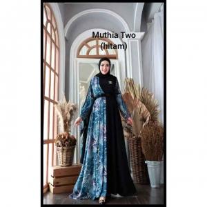 Gamis Kombinasi Terbaru Cantik Muthia Two Dress warna Hitam Bahan wollycrepe