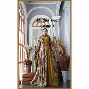 Gamis Kombinasi Terbaru Cantik Muthia Two Dress warna Lemon Bahan wollycrepe