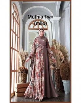 Gamis Kombinasi Terbaru Cantik Muthia Two Dress warna Milo Bahan wollycrepe