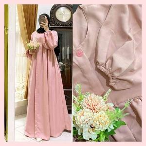 Gamis Polos Terbaru 2021 Melia Dress Warna Dusty Bahan Shakila