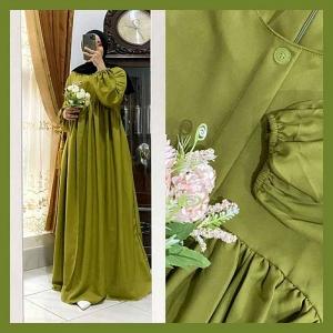 Gamis Polos Terbaru Melia Dress Warna Green Bahan Shakila