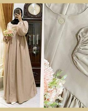 Gamis Polos Terbaru 2021 Melia Dress Warna Mocca Bahan Shakila