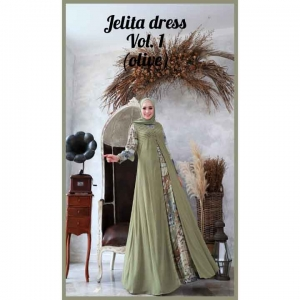 Jual Online Baju Gamis Pesta Terbaru 2021 Modis Jelita Dress warna Olive bahan cotton armany