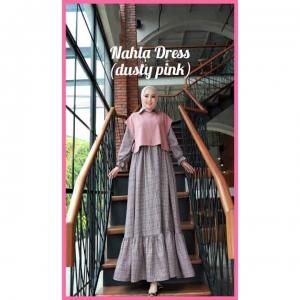 Model Baju Gamis Terbaru Nahla Dress warna Dusty Pink Bahan Semi Wool impor