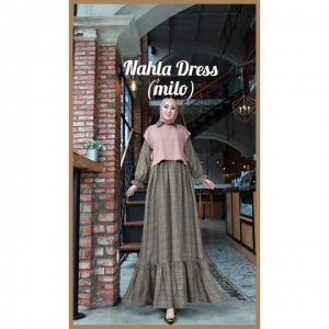 Model Baju Gamis Terbaru Nahla Dress warna Milo Bahan Semi Wool impor