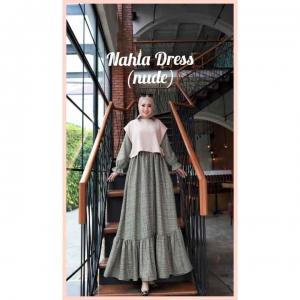 Model Baju Gamis Terbaru Nahla Dress warna Nude Bahan Semi Wool impor