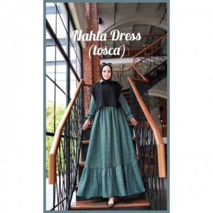 Model Baju Gamis Terbaru Nahla Dress warna Tosca Bahan Semi Wool impor