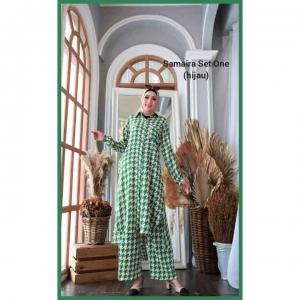 Setelan Muslimah Terbaru 2021 Anggun Samaira Set one warna Hijau b Bahan Shakila
