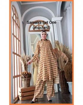 Setelan Muslimah Terbaru 2021 Anggun Samaira Set one warna Mustard b Bahan Shakila