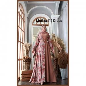 Supplier Gamis Pesta Muslimah Cantik Muthia One Dress warna Dusty milo Bahan wollycrepe