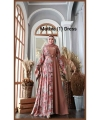 Supplier Gamis Pesta Muslimah Cantik Muthia One Dress warna Dusty milo c Bahan wollycrepe