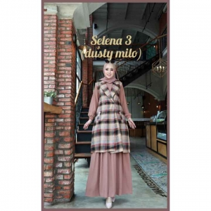 Baju Gamis Polos Set Cardigan Selena Dress 3 Warna Dusty Milo Bahan wollycrepe cantik