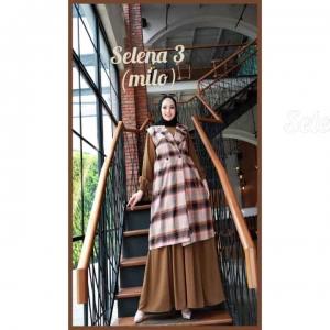 Baju Gamis Polos Set Cardigan Selena Dress 3 Warna Milo Bahan wollycrepe cantik