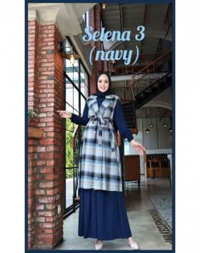 Baju Gamis Polos Set Cardigan Selena Dress 3 Warna Navy Bahan wollycrepe cantik