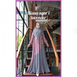 Jual online Baju Gamis Anggun Riana Syar'i Warna Lavender Bahan Ceruty Babydool