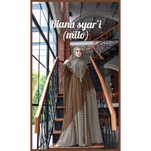 Jual online Baju Gamis Anggun Riana Syar'i Warna Milo Bahan Ceruty Babydool