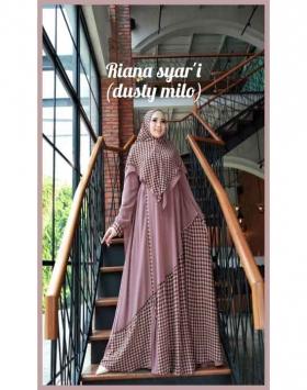 Jual online Baju Gamis Anggun Riana Syar'i Warna Dusty Milo Bahan Ceruty Babydool
